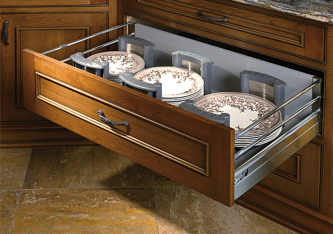 Stainless Steel Deep Drawer with Adjustable Plate Holders